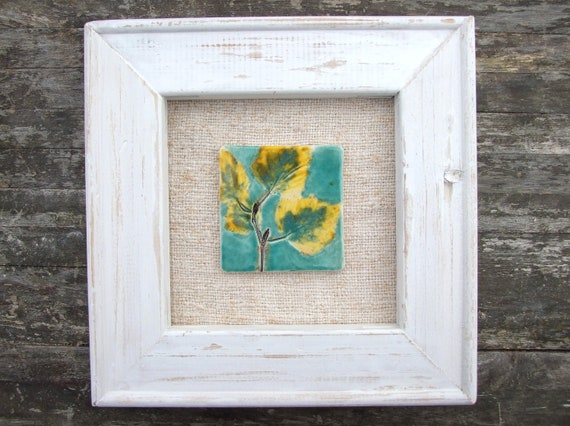 Autumn leaves tile picture, turquoise sky, wood frame, vintage Hungarian linen, Autumn, Fall
