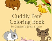 Printable Coloring Book CUDDLY PETS