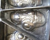 REDUCED Antique/Vintage Heavy Deep Metal SANTA Chocolate MOLD-w/5 Santa's