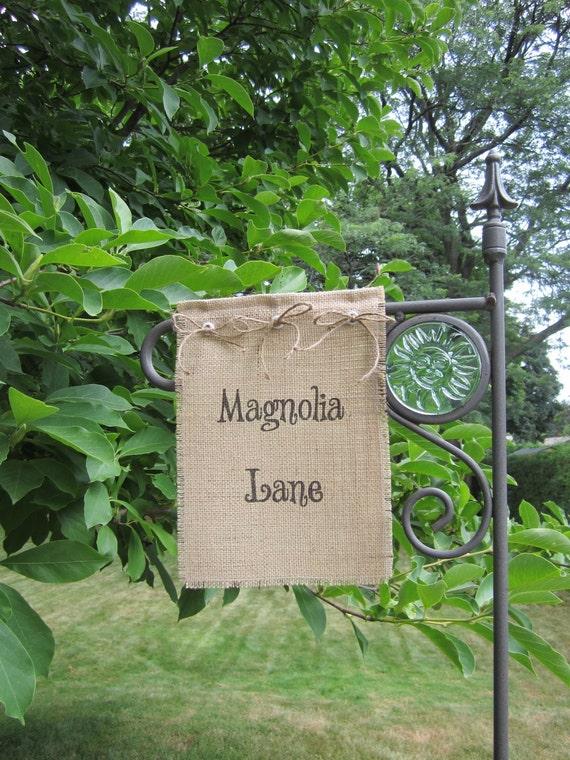 "Burlap Garden Flag - 8"" x 11"" - Customize with your choice of words, Monogram - Hostess or Housewarming Gift"