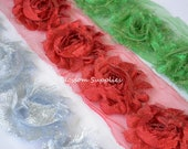 SALE - 1/2 Yard Pieces - 1.5 Yards Total - Glitter Holiday Collection - Sparkle Shabby Rose Trim - Red Silver Green