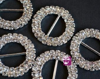 Metal Rhinestone Buckles - 28mm Crystal Clear Ribbon Sliders - Flower Bow Centers - Wedding invitation sliders