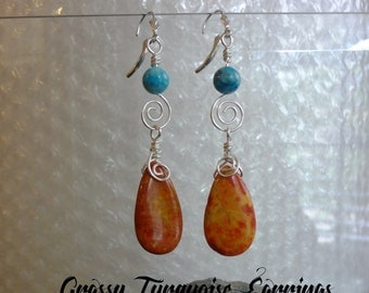Grassy Turquoise  Wire Wrapped Earrings