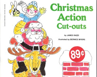 Christmas Action Cut-Outs Vintage Book Illustrated by Bernice Myers
