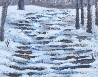 Snow Covered Stairs - original painting
