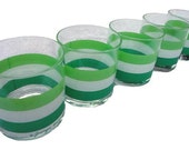 Vintage Georges Briard Glasses Signed - Green Striped Glassware Stripes Drinking Glass