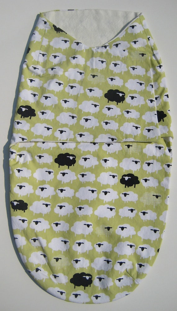 Baby Swaddler / Snuggler / Blanket - Organic, Lime Green with Black and White Sheep (Ready to Ship)