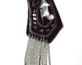 Handmade Black Patch with various Rhinestones Metal Silver Studs and Fringe Chains