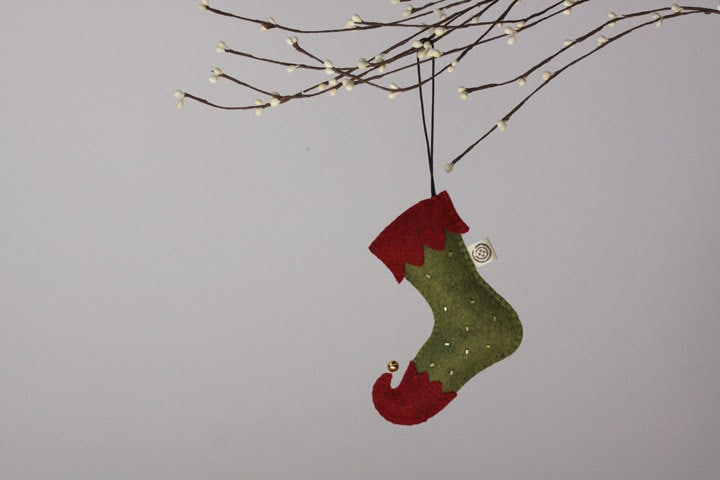 NIkkie's Felt Christmas Stocking Ornament-Red&Green