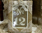 Burlap table number frame, WEEKEND SPECIAL, Wedding photo frame, photo booth frames, rustic, country, shabby chic. French country wedding
