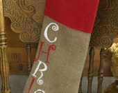 Monogrammed Burlap Christmas Stocking, RED and WHITE Christmas decor, FREE Gift wrap, country chic stocking, shabby chic, custom rustic