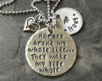 Personalized Sterling Silver Hand stamped Horse Quote Necklace for Equestrian or Horse Lover.