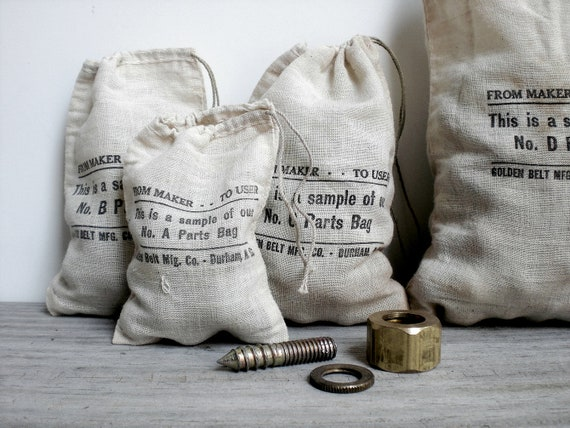Vintage / industrial / drawstring bag / retro / home decor / eco gift bag / upcycled pouches / alternative / masculine / man cave decor