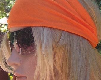 Women's wide hair band orange - Stretch Turban Headband   urban turban head wrap headband