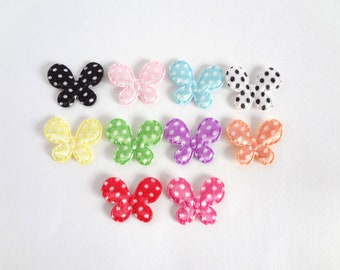 10 Satin Polka Dots Butterflies Padded Appliques / Embellishment