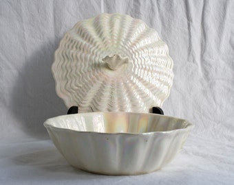 Maddux of California Vintage Pottery Clam Shell Bowl with Lid - White and Iridescent