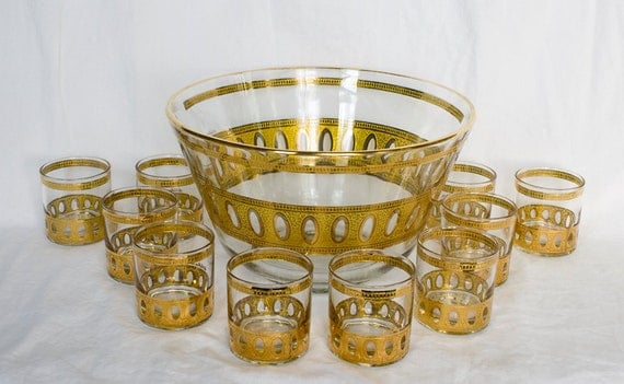 Vintage Culver Punch Bowl and 10 Glasses, 22k Gold, Holiday Punch Bowl, Vintage Entertaining