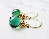 Forest Green Gemstone Earrings - Green Quartz 14K Gold Fill wire wrapped