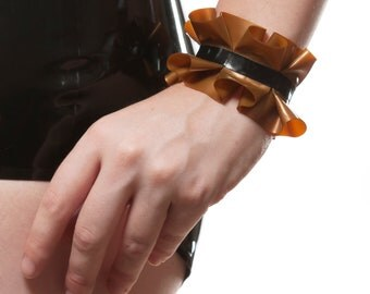 Latex Ruffled Cuffs - Pair