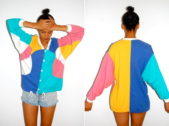 Vtg Color Block Button Down Drawstring 80s Sweater