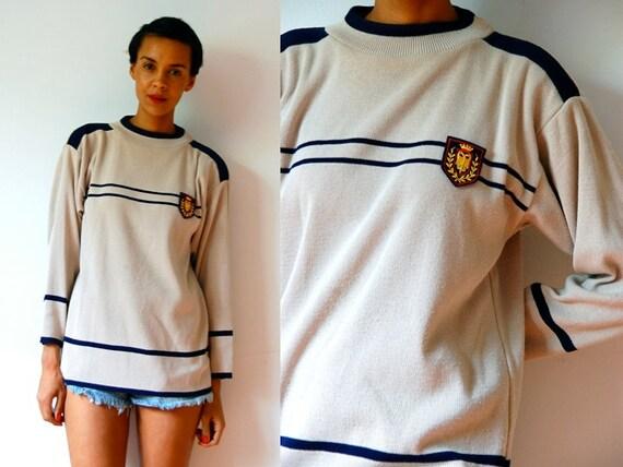 Vtg Uniform Crested Khaki & Navy Stripped Sweater