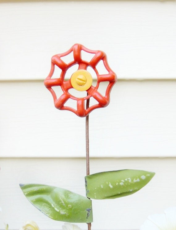 Fall Garden Decor Flower Stake Upcycled Valve Handle with Antique Ceiling Tin Leaves Orange Yellow Garden Decor Yard Art