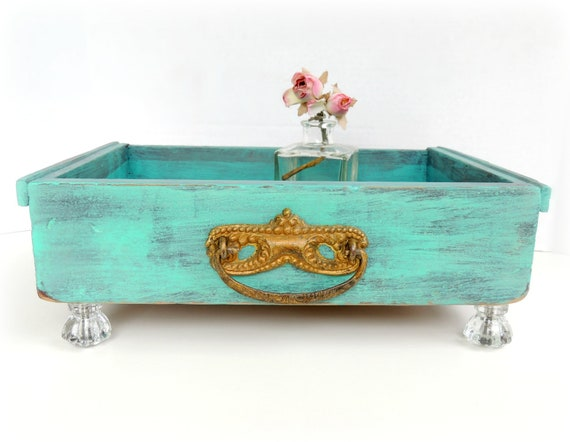Teal Antique Drawer Tray with Glass Knob Feet Home Decor Aqua Storage Organize Wooden Box Shabby Vintage