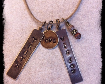 Men's or Unisex Tan Cotton Cord Necklace with Handcrafted Gemstone Charm & Hand Stamped Inspirational Brass Tags