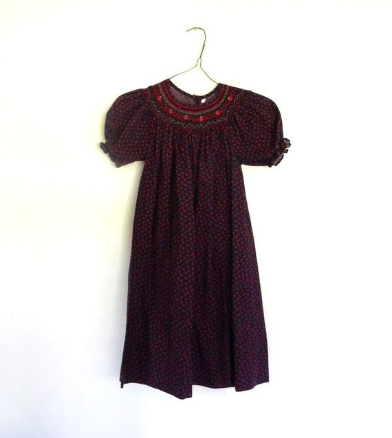 Vintage Girls Dress, Calico Smocked Dress