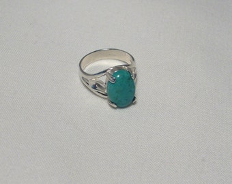 FREE SHIPPING in US, Genuine Turquoise Stone in Polished Sterling Silver Ring