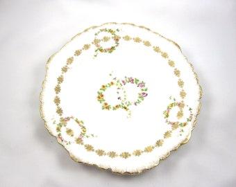 German Porcelain Flower Plate, Vintage, Pink, Yellow, Purple Flowers