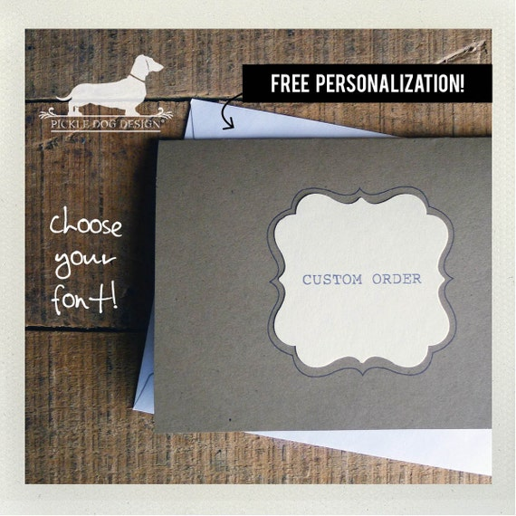 Free Personalization. Note Cards (Set of 8) -- (Rustic Wedding, Custom, Monogram, Simple Invitations, Thank You Cards, Vintage-Style, Cute)