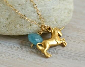 Unicorn Necklace, unicorn jewelry, fairy tale jewelry, vintage unicorn, unicorn charm necklace, angelite