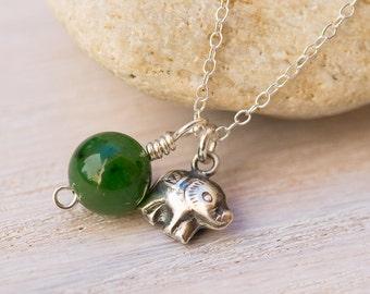 Elephant Necklace, jade necklace, elephant jewelry, sterling silver, green jewelry, green stone, animal jewelry, charm necklace
