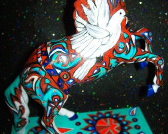 """Original Abstract Painting Custom Painted Ponies Modern Contemporary Art Horse """"PEACEMAKER"""" by J.LEIGH"""