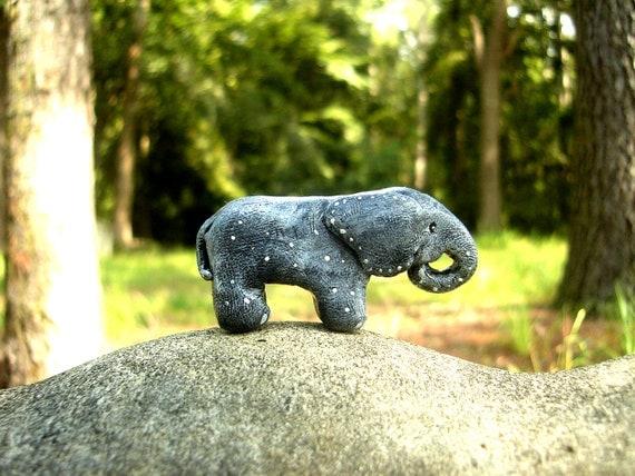 Miniature Elephant - Spotted Elephant Totem - Polymer Clay Elephant