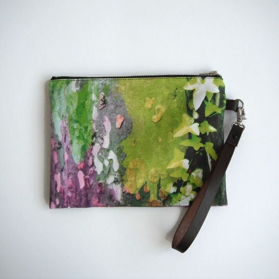 Wristlet, leaf printed pouch, clutch with brown leather removable strap