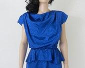 cobalt blue draped holiday vintage peplum dress s / m