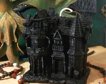 Haunted House Black Beeswax Candle SMALL Size