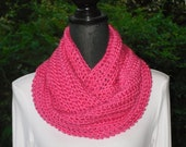 Infinity Eternity Cowl Neck Warmer Scarf Watermelon Hot Pink Cluster Crochet