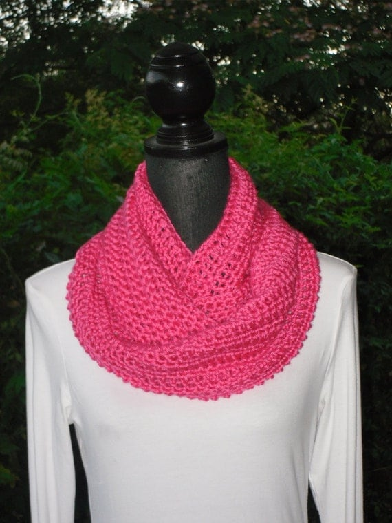 Infinity Eternity Cowl Neck Warmer Scarf Watermelon Hot Pink