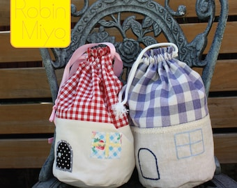 Little Houses Drawstring Bag PDF Digital Pattern Email by Robin Miyo