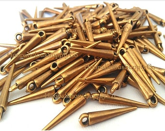 25 Small ANTIQUED GOLD Spikes -Made of Acrylic -with Top Loop- 22mm