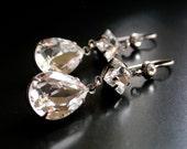 Swarovki Clear Crystal Dangling Earrings on Silver - Victorian Jewelry - Angelina Jolie Inspired Earrings - Bridal Earrings