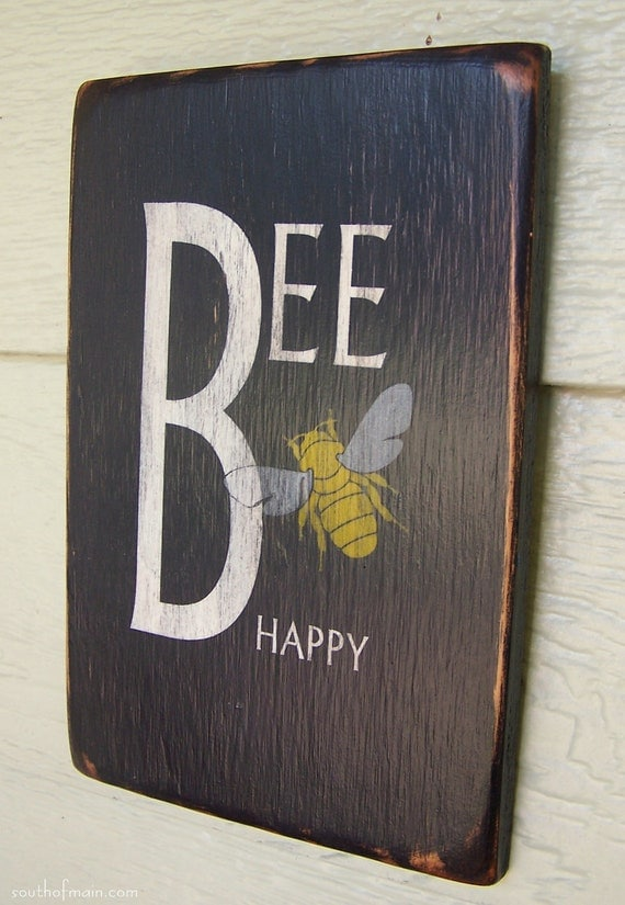"Bee Happy - 6"" x 9"" Small Wood Sign"