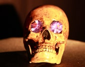 Skull Lamp - original Halloween art handmade and stained flicker bulb included