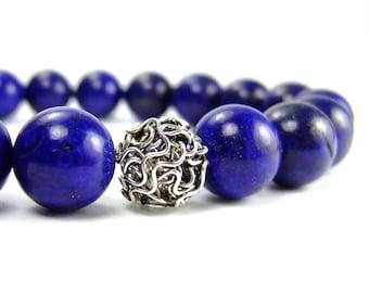 Mens Lapis Lazuli Energy Bracelet for Courage & Clarity