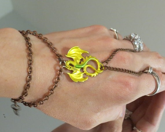 "Yellow Dragon ""Slave Bracelet"" Ring. Renaissance Goth Copper. Adjustable. Fits 6"" wrists on up. Please indicate wrist size."