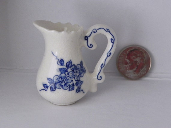 Miniature Dollhouse Ceramic Pitcher Off White and Blue Flowers