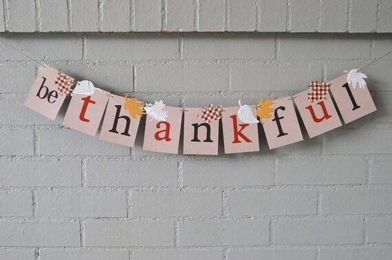 Thanksgiving Banner Be Thankful Fall Banner